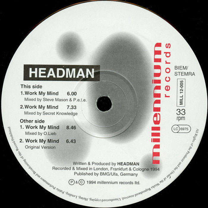 Headman - Work My Mind (Oliver Lieb Remix)